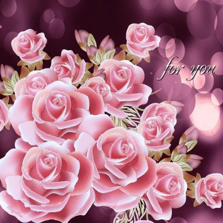 Гиф розовые цветы