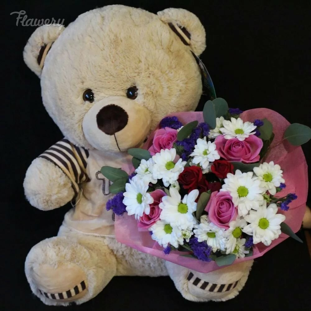 Красивые медвежата с цветами картинки