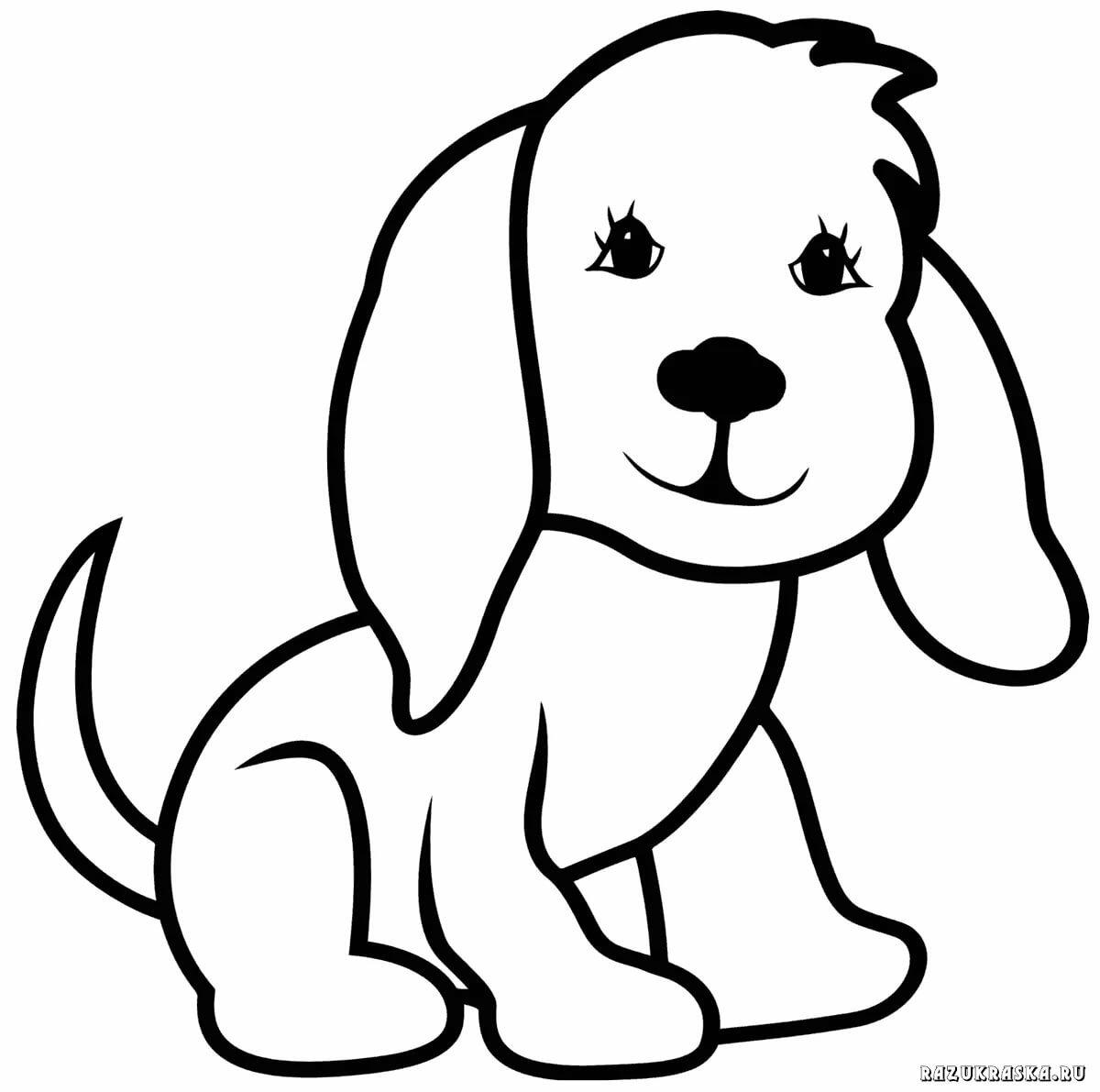 шаблон раскраска собака