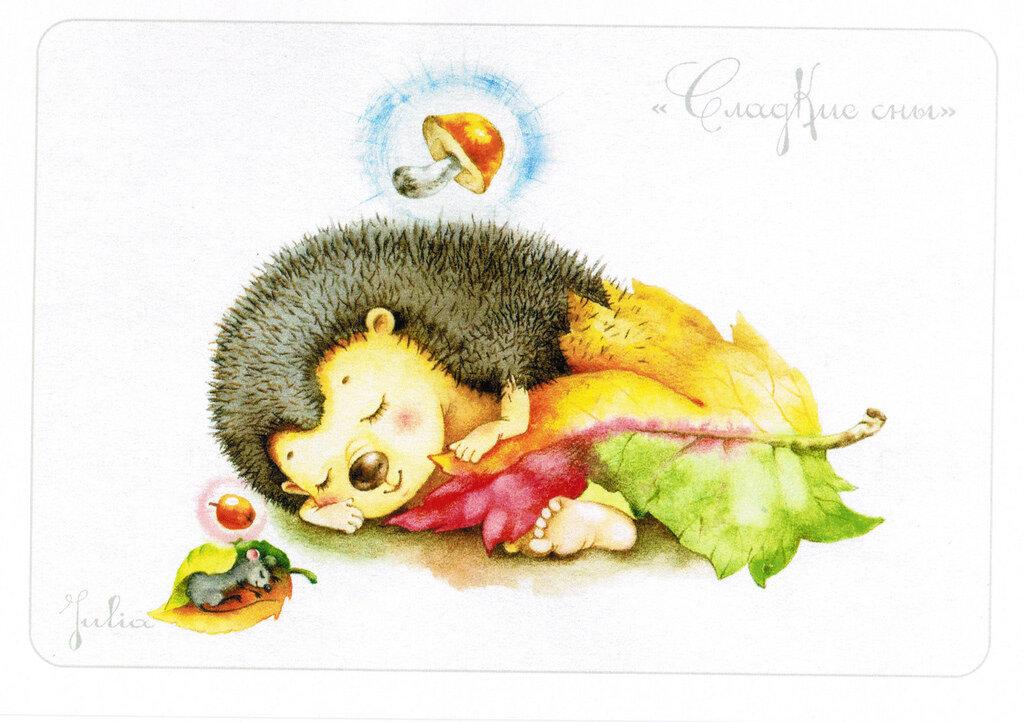 Картинка ежик спит на пеньке
