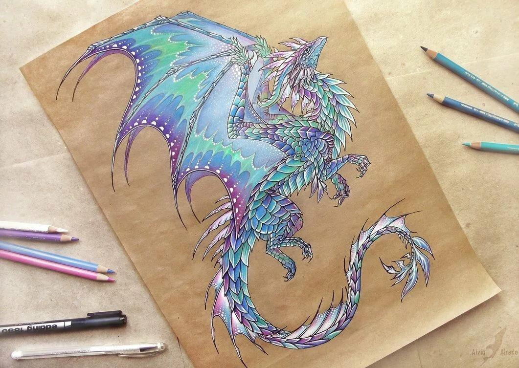 Картинки рисованные драконы