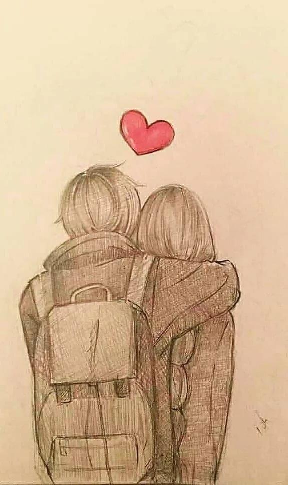 Нарисованные картинки для влюбленных