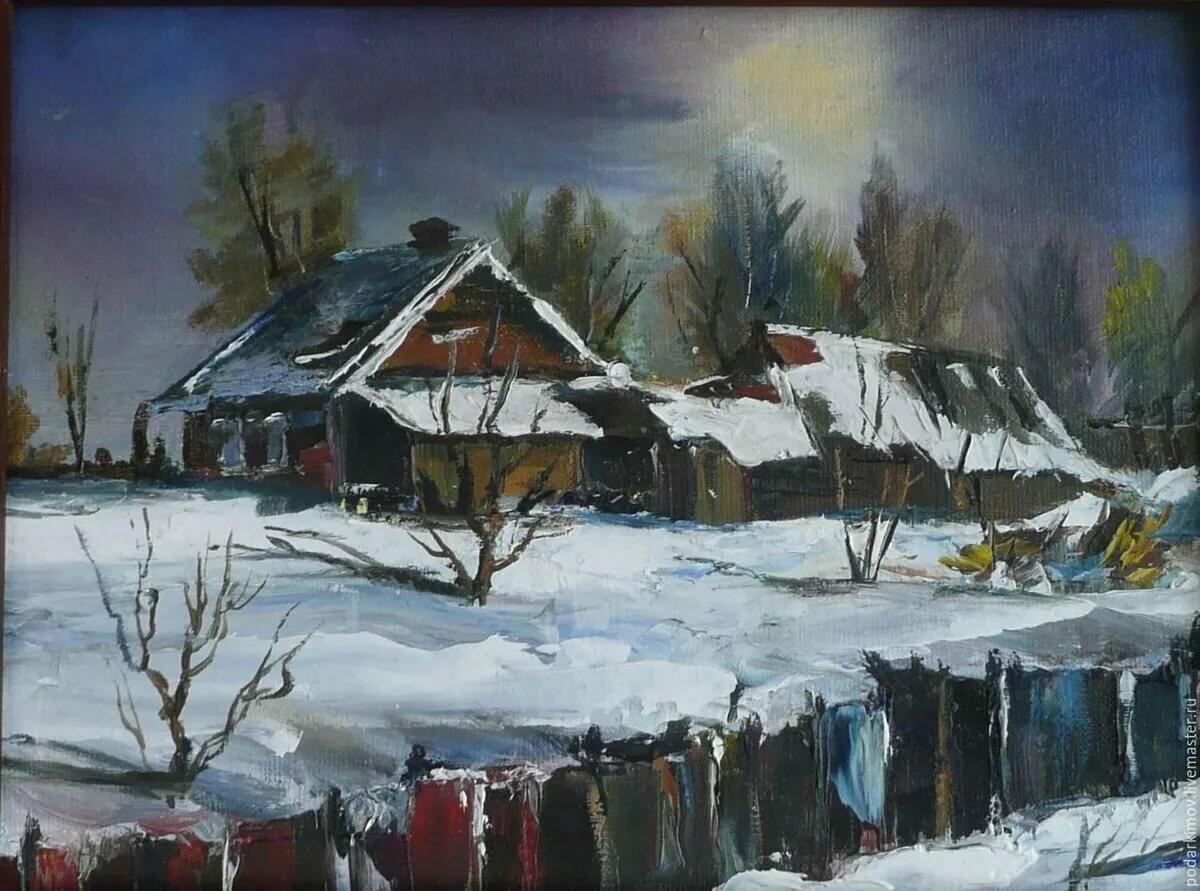 Картина деревня зимой