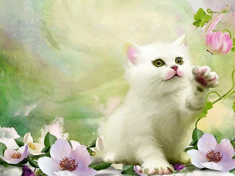 фотообои коты с цветами ласточки плече