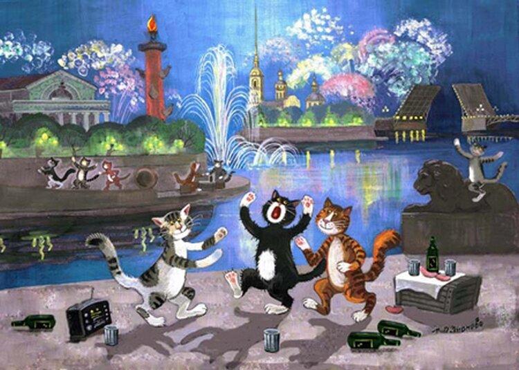 С днем рождения санкт-петербург открытки с котами, летием прикольные