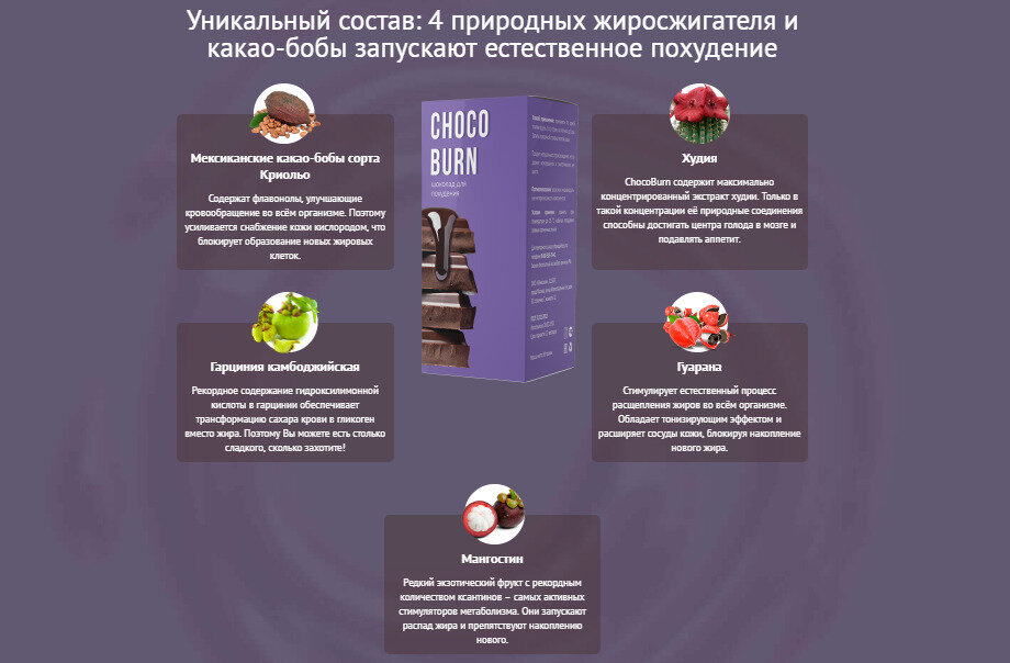 ChocoBurn - шоколад для похудения в Кисловодске