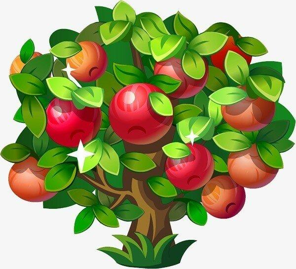 Картинка дерево с яблоками на прозрачном фоне