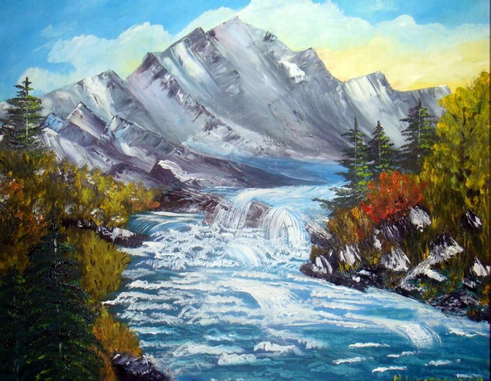 Картинка гуашью гора с рекой, днем рождения танюша
