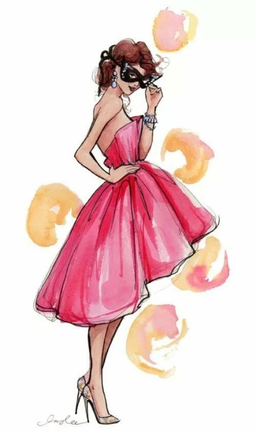 Картинки мультяшных девушки в платьях