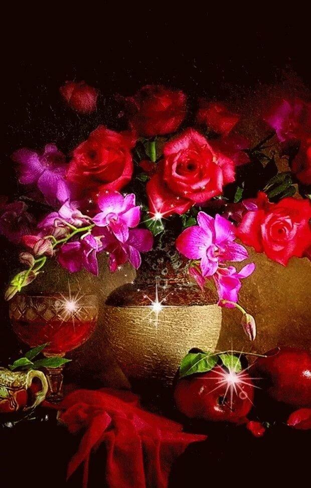 Надписью, красивые цветы картинки гиф