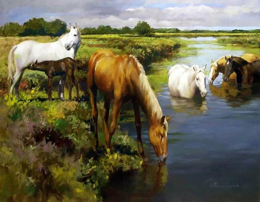 Картинки лошади на водопое