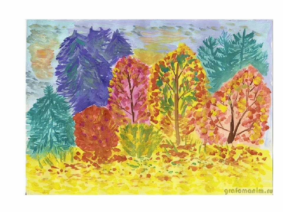 Детские рисунки осень в лесу красками