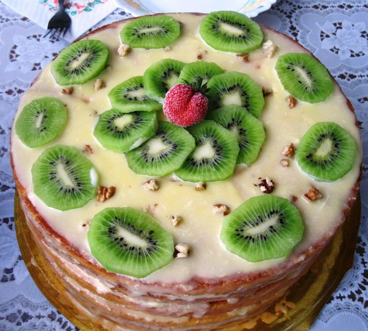 Красиво украсить торт фруктами картинки