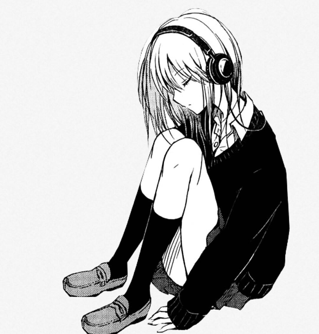 Аниме грустные картинки черно белые