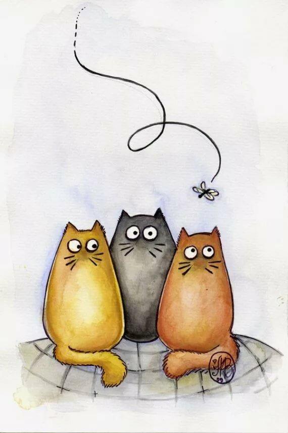 Днем рождения, картинки про котят смешные нарисованные