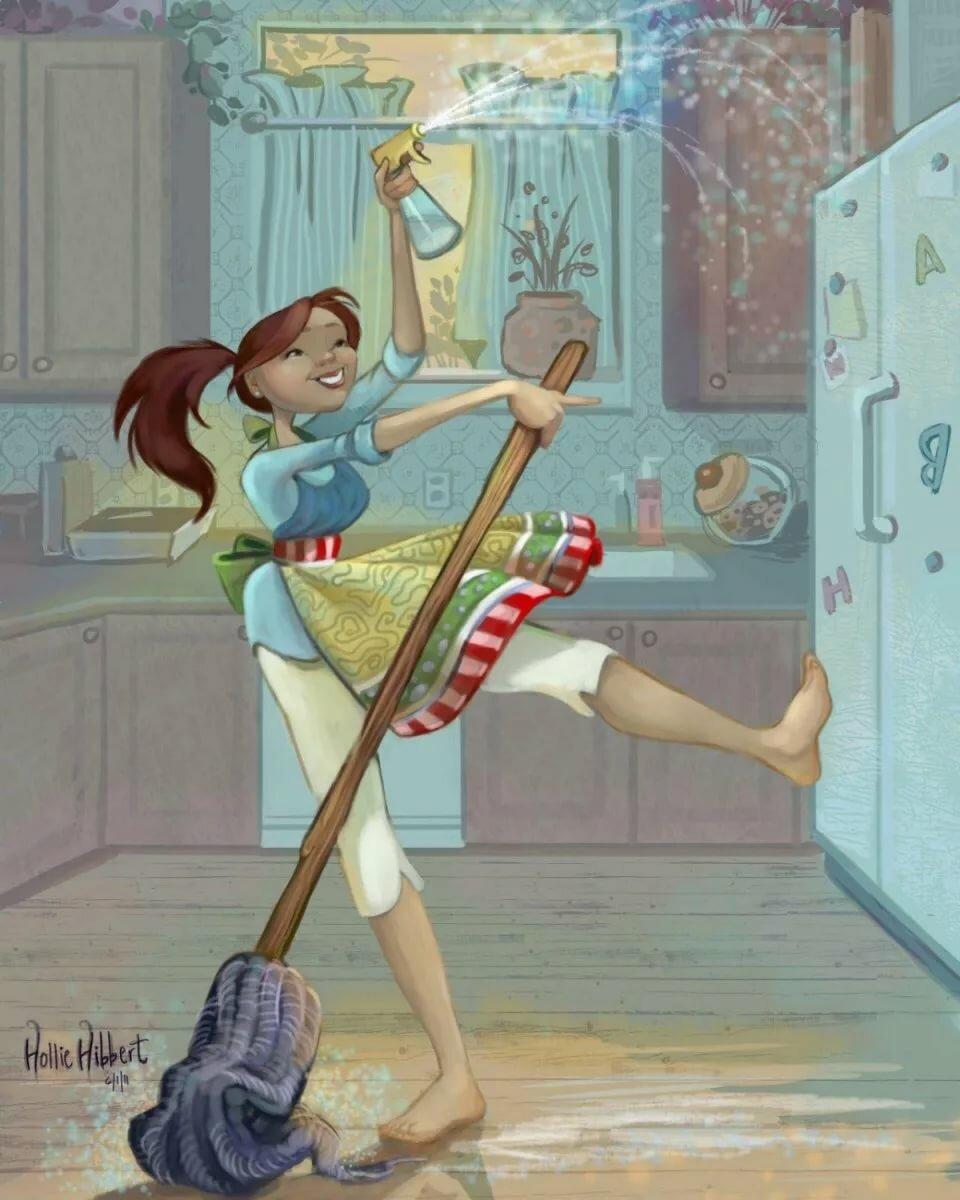 Винтаж, смешная картинка уборка дома