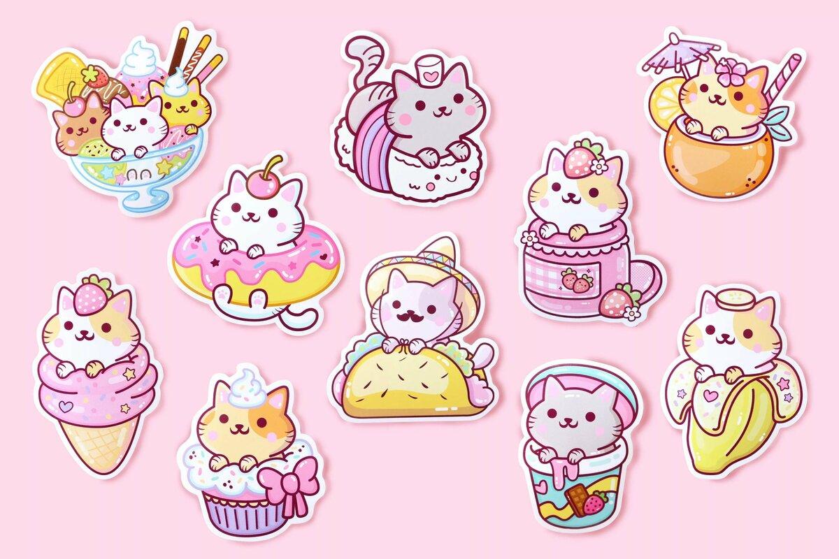 Картинки для распечатки разноцветные милые котики