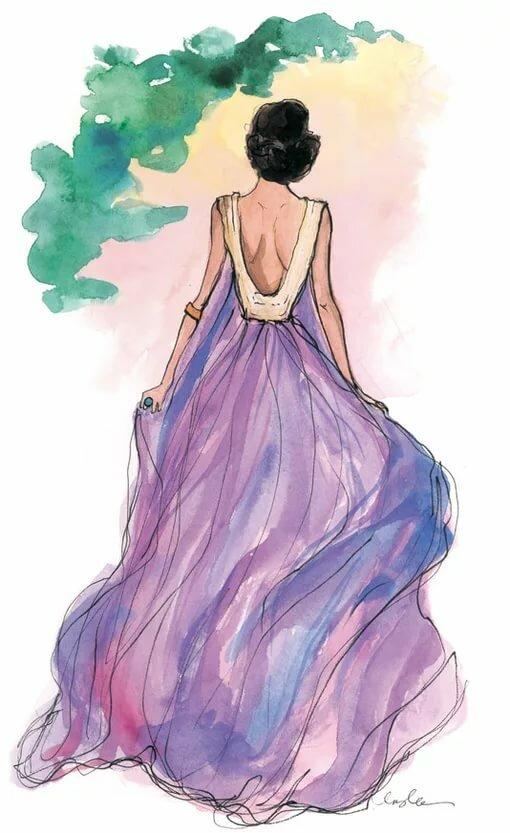 Картинки девушек в платьях нарисованные