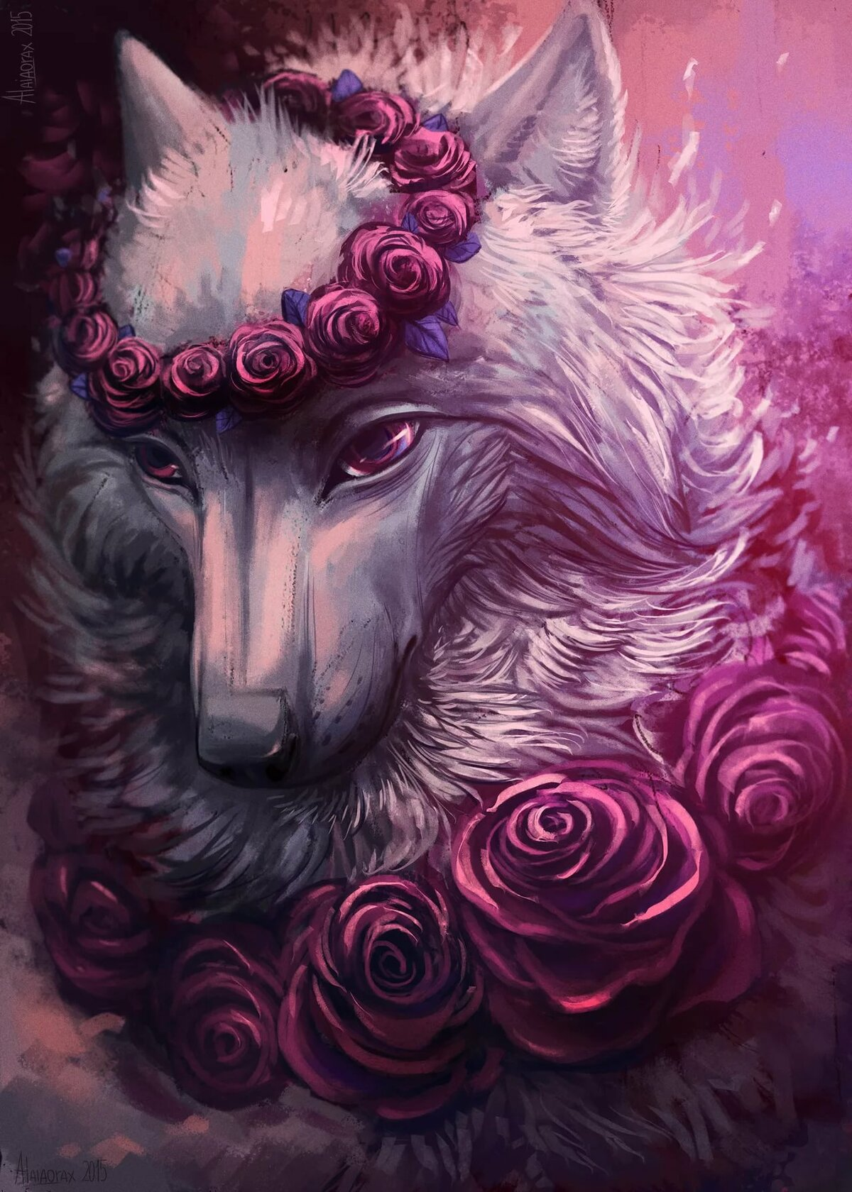 Картинки волков с цветком