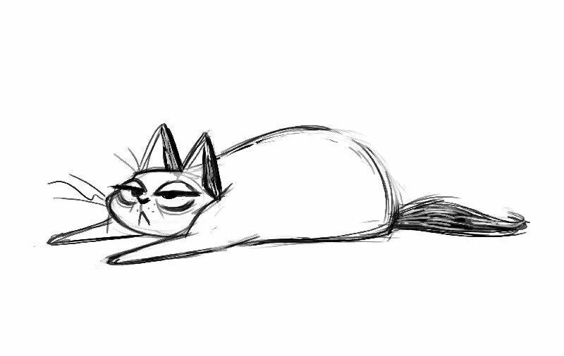 Прикольные рисунки котов карандашом
