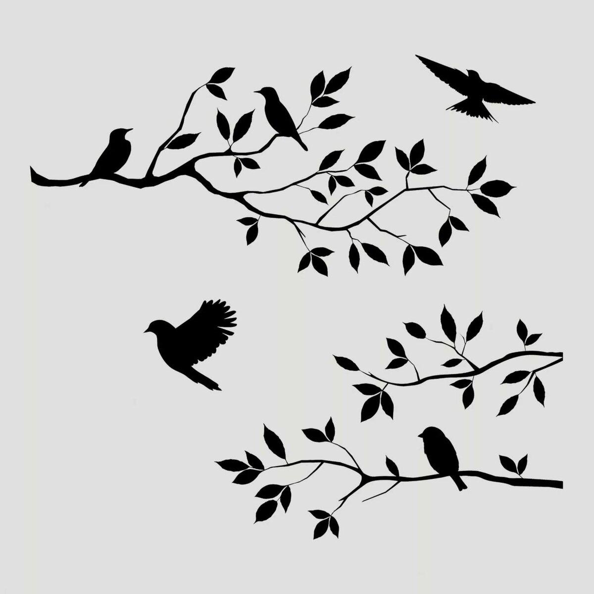 птички на ветке картинки для вырезания турецкий белый один