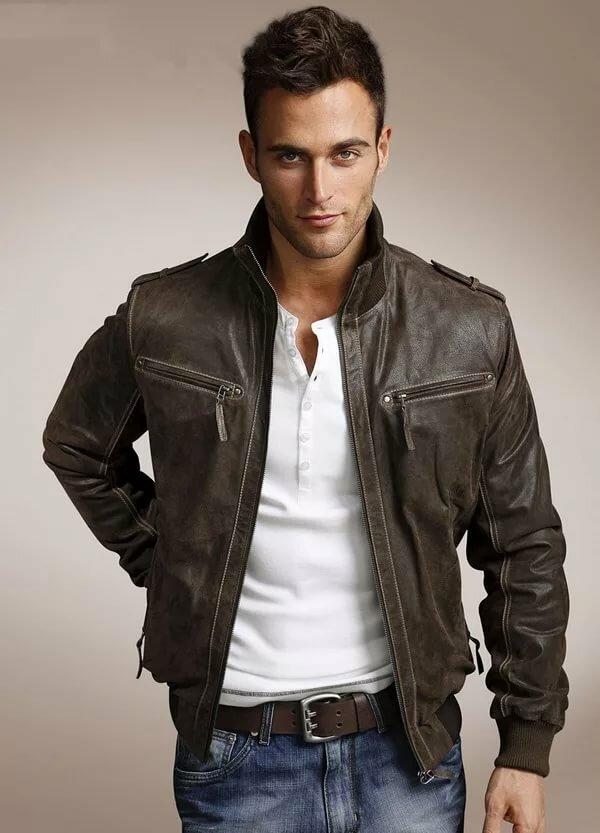 Картинка мужчина в кожаной куртке