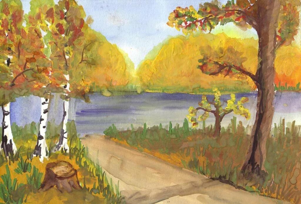 Осенний пейзаж рисунки детские