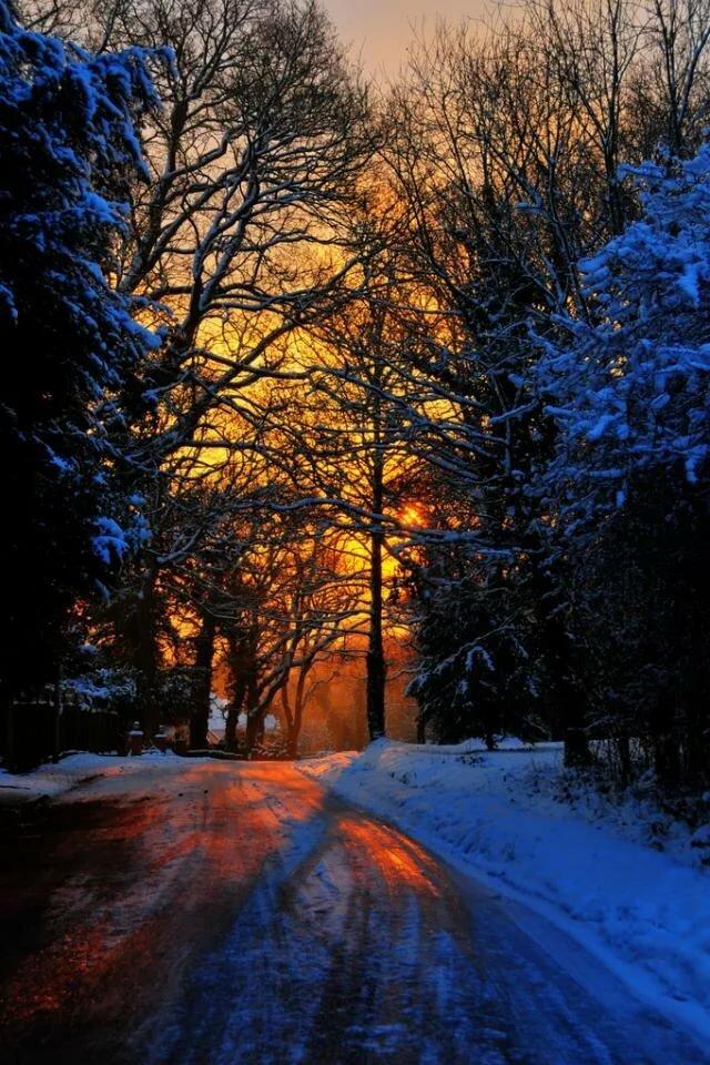 картинка зимний вечер на телефон