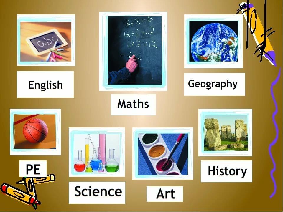 Картинки и названия школьных предметов