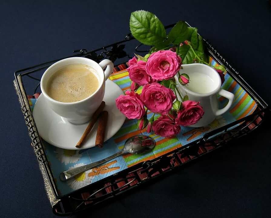 Лето, картинка с добрым утром кофе и розы