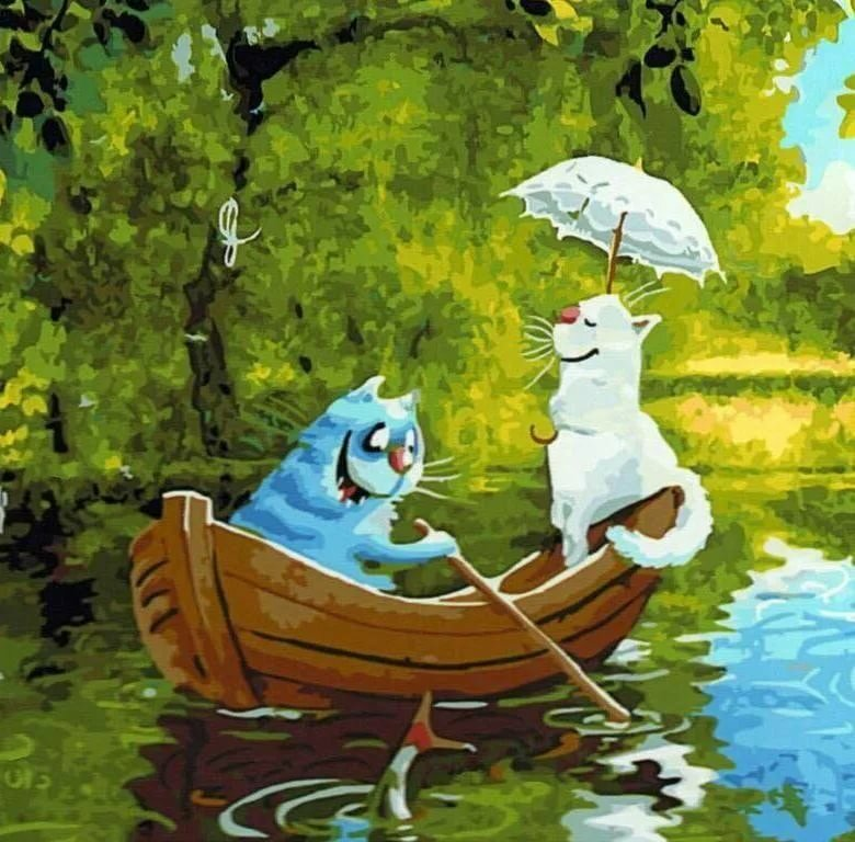 Картинка кот в лодке