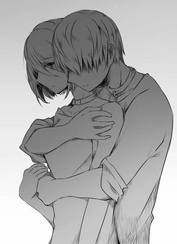 Арты обнимашки аниме
