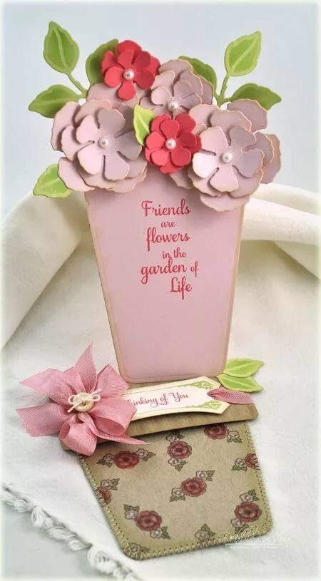 Красным, открытка цветок в горшке своими руками