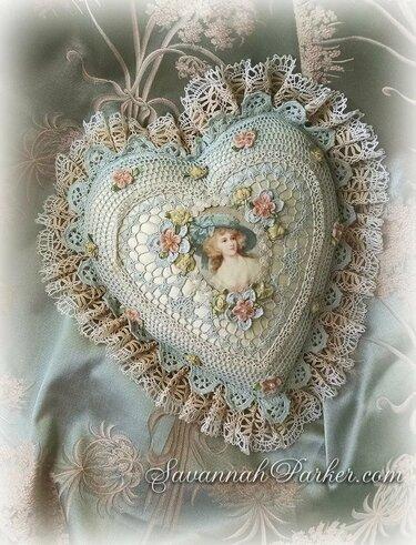 вязаное сердце шебби шик