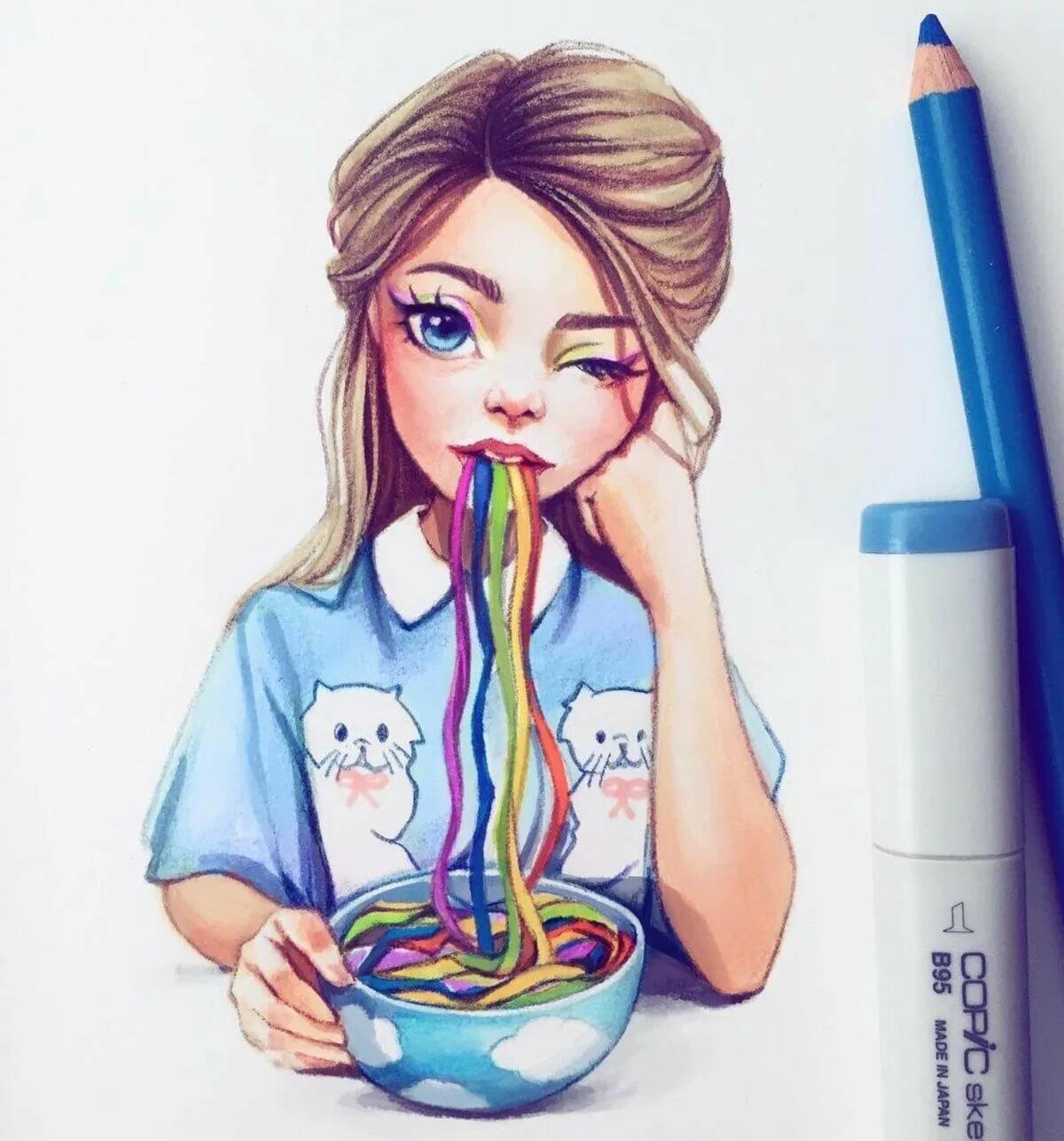 Девушки для срисовки в личный дневник карандашом