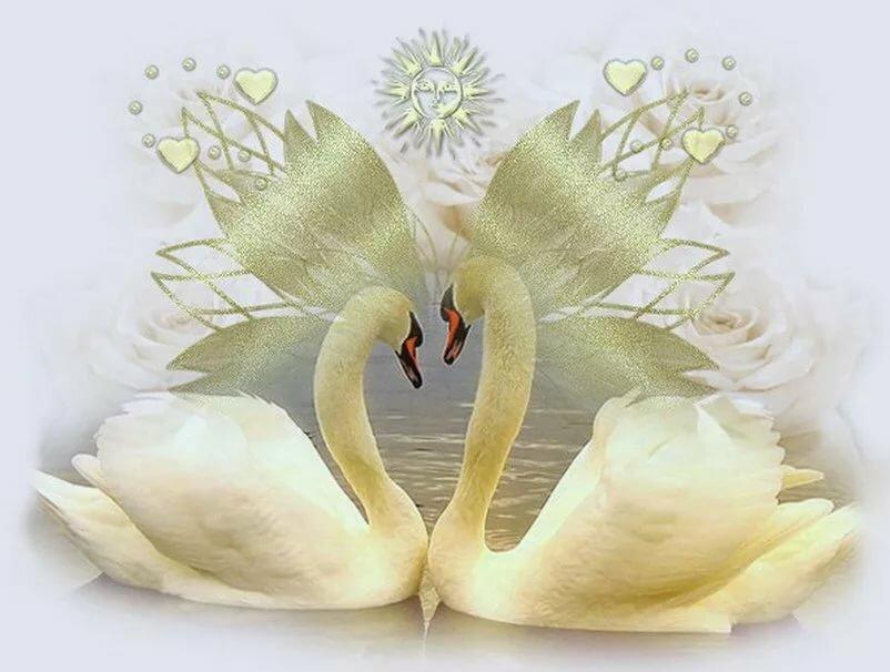 Мужчине другу, открытки с годовщиной свадьбы лебеди