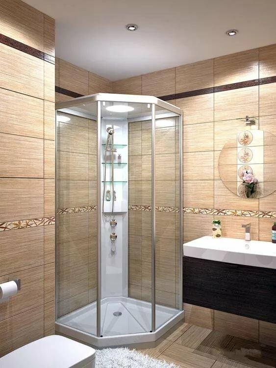 Стеклянный душ бежево коричневый фото