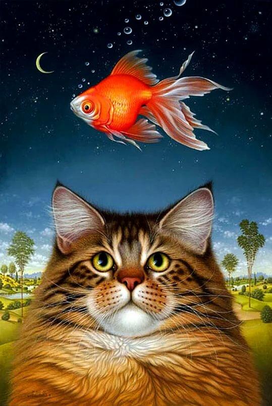 картинка котика с рыбками именно сахар