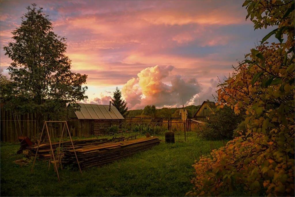 Картинки деревня вечером