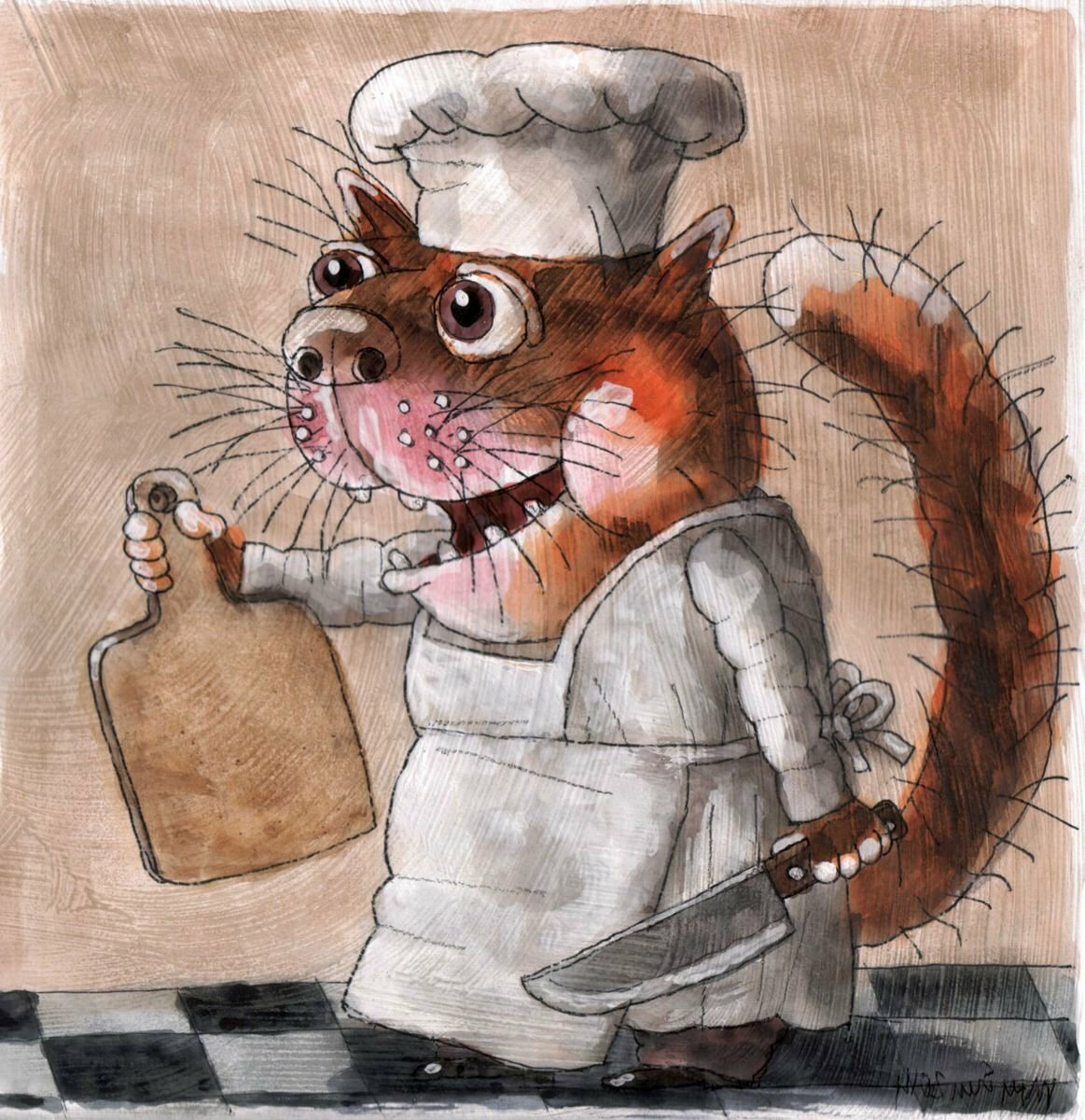 картинка котик повар днем рождения мужа