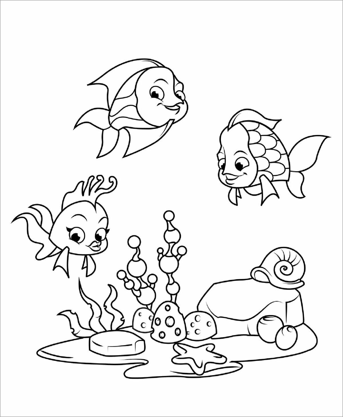 еще раскраска картинки про рыбок жизнь