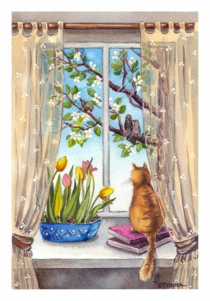 Картинки доброе утро весны мультяшное