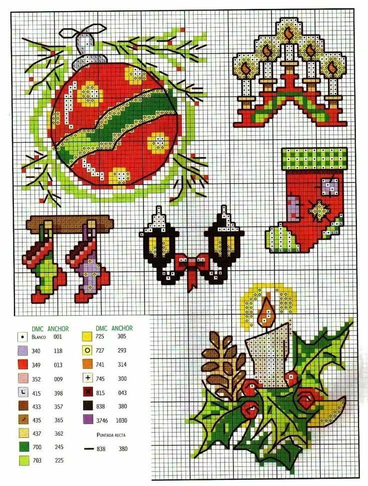 Схемы для вышивки крестом для новогодних открыток
