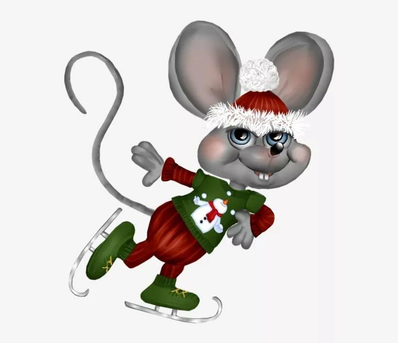 Мышка новогодняя мультяшка картинка