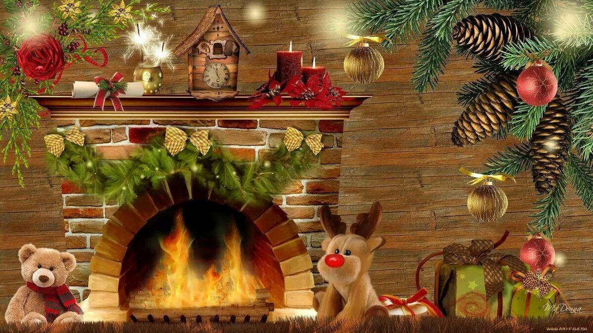 фотообои рождество у камина должен