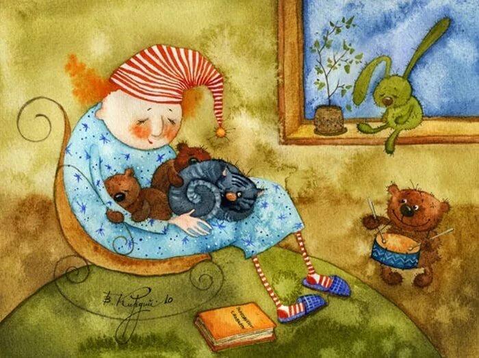 Прикольные рисунки художников спокойной ночи, новорожденным