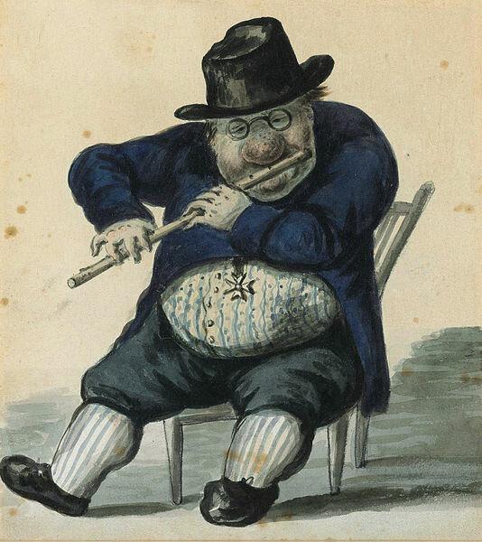 Александр Орловский, Карикатура на Джакомо Кваренги, одетого в костюм ордена Мальтийских рыцарей и играющего на флейте