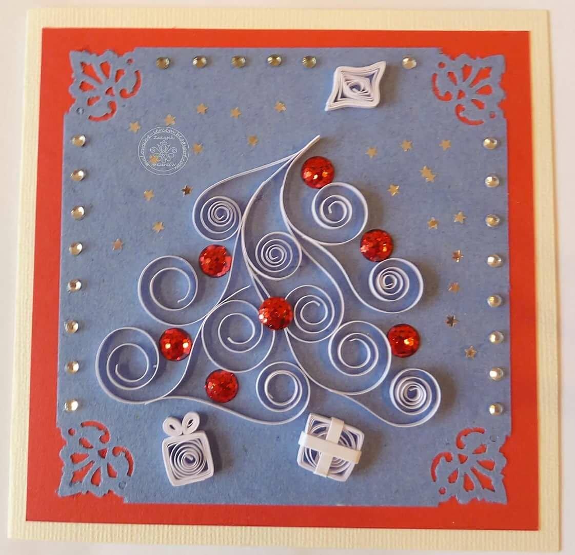 Новогодние открытки в стиле квиллинг