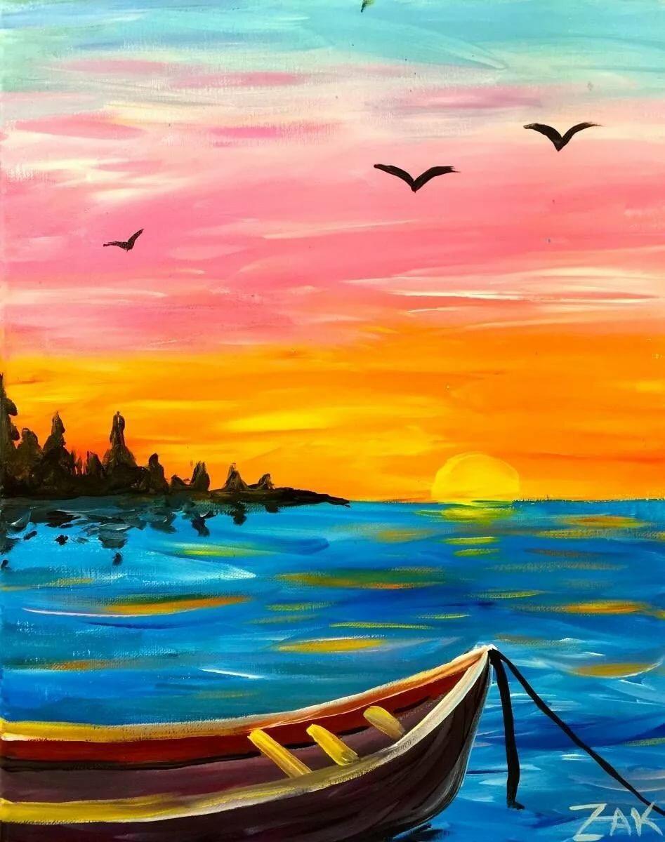 Закат на море картинки красками, днем рождения музыкальные