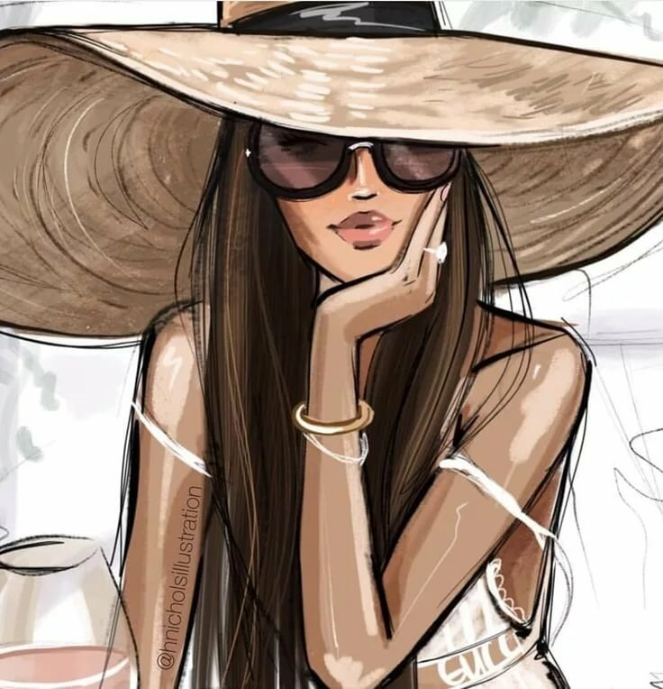Девушка модная картинка нарисованная